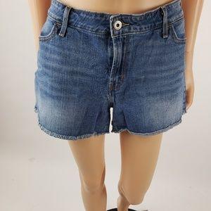 Levis Denim Jean Frayed Shorts Med Wash Size 16